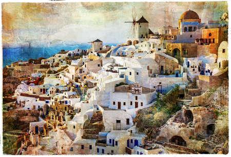 アートワーク スタイルの絵画で、サントリーニ島 写真素材