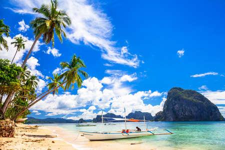 beautiful tropical beach, El Nido Palawan 스톡 콘텐츠
