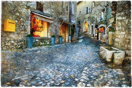 vence: charming old streets of medieval villages in France - St. Paul De Vence Stock Photo