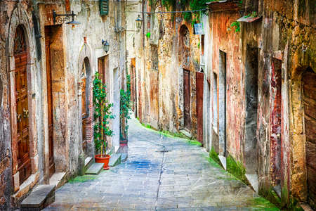 toscana: charming old streets of medieval villages, artistic picture Stock Photo