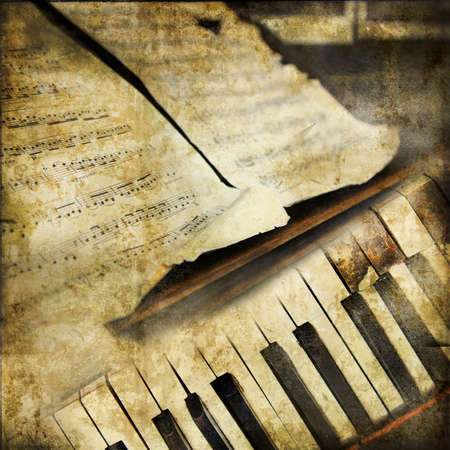 piano closeup: vintage musical background Stock Photo