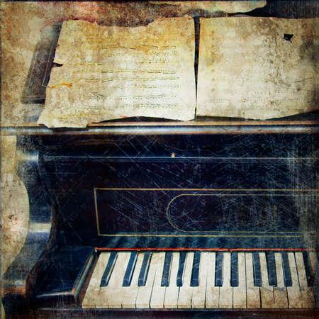 古いピアノ - ビンテージ写真 写真素材