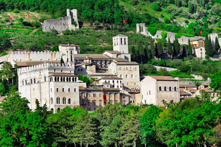 crenellated tower: medieval Gubbio, Umbria, Itlay