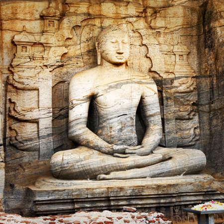 buddha face: monolith buddha statue in ancient temple Polonnaruwa- Sri lanka
