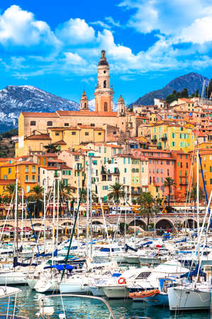 costal: Menton - colorful town in south of France