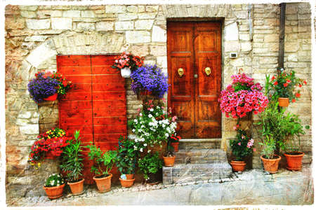 town house: beautiful old streets of mediterranean, artistic picture Stock Photo