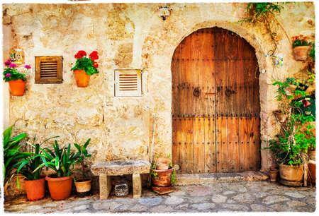 Prachtige oude straten van mediterraan, artistiek beeld Stockfoto