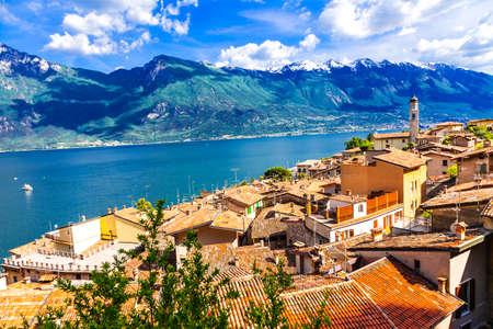 garda: scenic landscape of Lago di Garda, Limone. Itlay Stock Photo