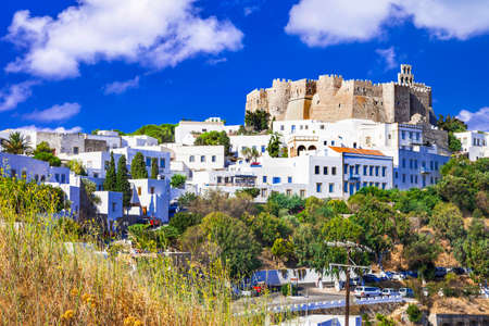 greece: Patmos island, view of Chora town and monastery