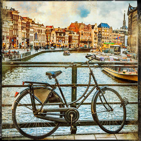 gabled house: traditional holland, canals and bikes, retro picture