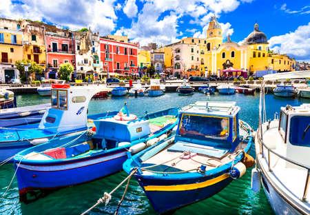 island beach: colorful Procida island, Italy