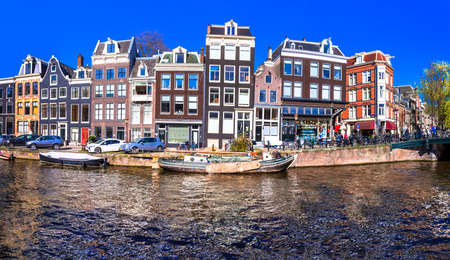 the river: canals of Amsterdam panorama
