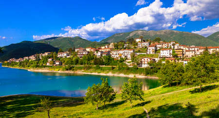 pictorial: Colle di Tora pictorial village in Turano lake Italy Stock Photo