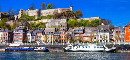 wallonie: panoramic image of Namur Belgium view with citadel
