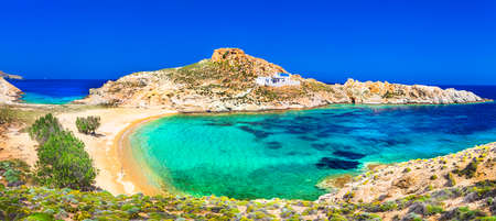 stunning wild beaches of Greece Agios Sostis Serifos island Stock Photo