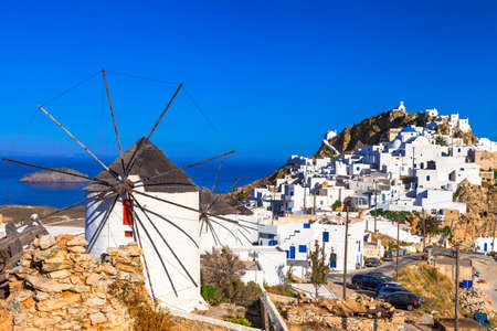 authentic Greece Serifos island View of Hora village Stock Photo