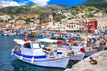 pictorial port of Hydra island Greece photo