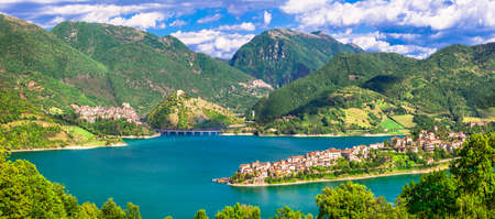 tora: nature landscape of Italy Colle do tora. Lake Turano. Italy rieti provinces Stock Photo