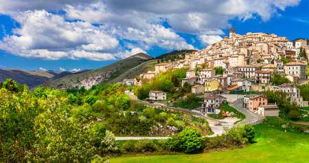 beautiful villages of Italy Castel del Monte. Abruzzo Stock Photo