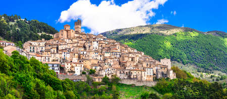 abruzzo: beautiful villages of Italy Castel del Monte. Abruzzo Stock Photo