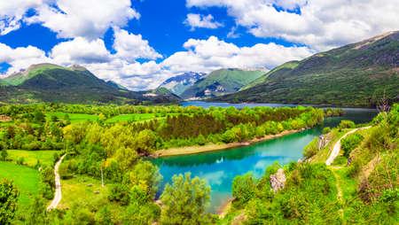 Nature landscape pictorial lake Barrea Abruzzo Italy.