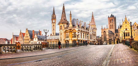 beautiful view of medieval Ghent in Belgium