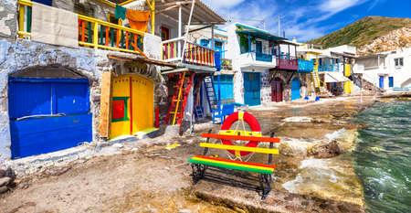 pecheur: village traditionnel Klima sur Milos île Grèce