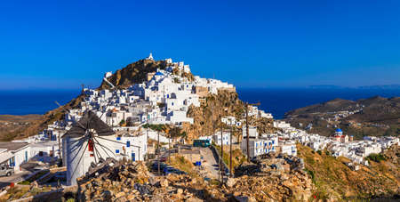 lesure: traditional Greece. view of Hora and windmills on Serifos island