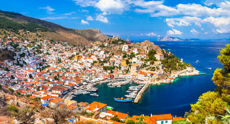beautiful view of port of Hydra island