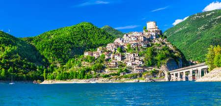 lazio: Castel di Tora medieval hill top village in Italy Lazio