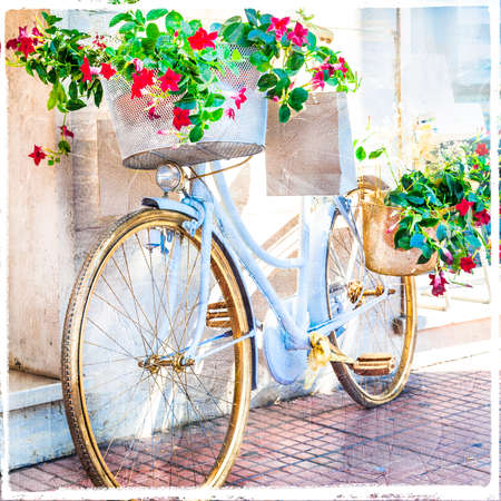 backstreet: vintage floral bike- beautiful street decoration Stock Photo
