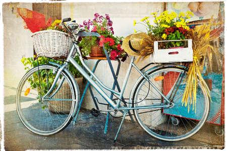 sidewalk: vintage card with old bike Stock Photo