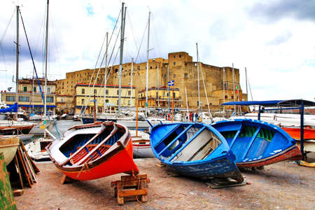 Naples. Italy. View with castel dell Ovo and boats