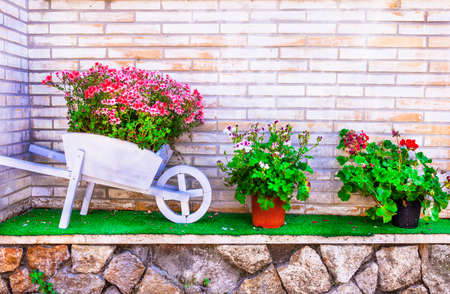 floral decoration: nice floral decoration in garden Stock Photo