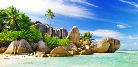 LEs paradisiaques tropicales - Seychelles Banque d'images - 43550619