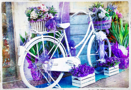 charming street decoration with bike and flowers