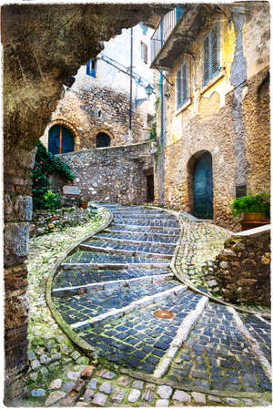 house with style: streets of medieval villages of Italy. Casperia Stock Photo