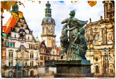 painting: beautiful Dresden architecture. Germany