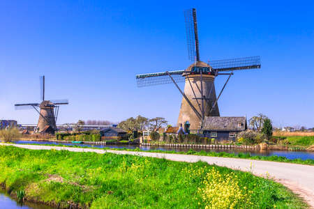 holland: traditional countrysideof Holland. view with windmills