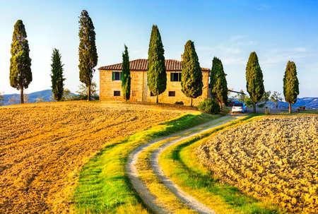 Traditionele landschappen van Toscane, Italië Stockfoto - 44685532