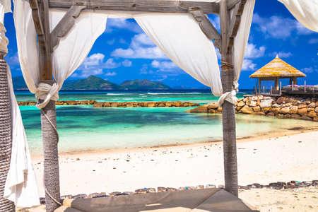 la: tropical relax. La Digue island, Seychelles Stock Photo