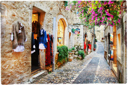 charming streets of old villlage Saint-Paul de Vence in France Stock Photo