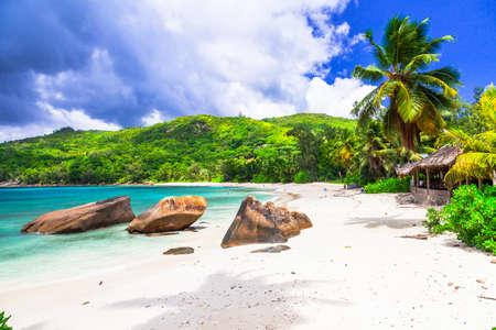 costal: beautiful tropical beach scenery - Mahe island, Seychelles Stock Photo