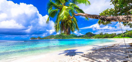 beach panorama: white snady beach and crystal waters of Seychelles islands