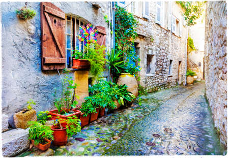 charming streets of old villages in France - Saint-Paul de Vence