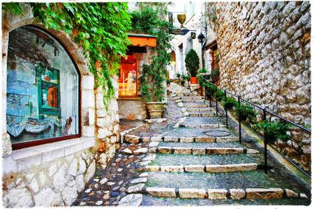 古いヴィラジ サン Paul ・ ド ・ ヴァンス、フランスの魅力的な通り