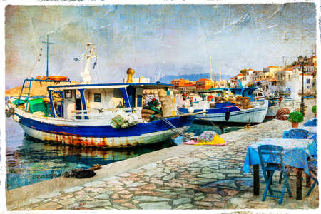 halki: tavernas of Greece - Chalki islands, artistic picture