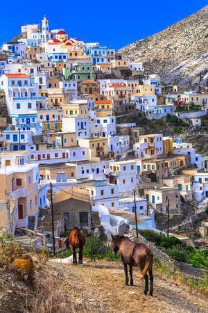 burro: Olimbos pueblo de montaña hermosa, isla de Karpathos, Grecia