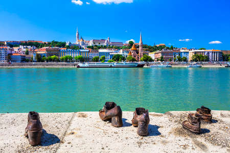 Budapest river side with shoe sculptures Reklamní fotografie