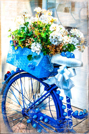 old street: floral bike - artistic picture